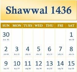 Shawwal Calendar 1436