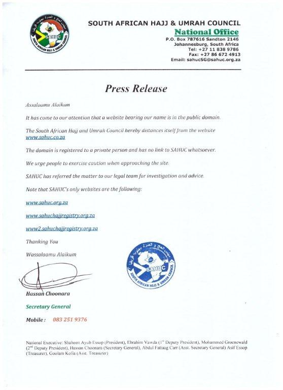 SAHUC - Press Release regarding website
