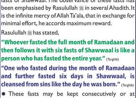 6 fasts of Shawaal