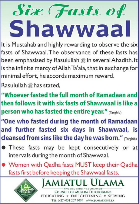 6 fasts of Shawaal
