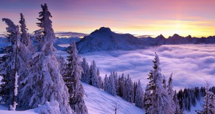 Winter sunset, Mount Tegelberg, Bavaria, Germany