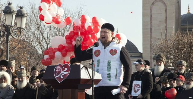 "President Ramzan Kadyrov addressing the ""Love for Prophet Mohammed"" demonstration"