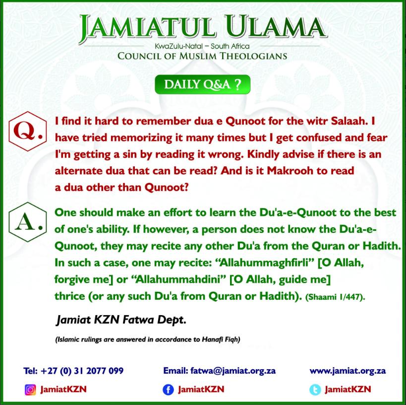 Dua Qunoot in Witr Salaah – Jamiatul Ulama KZN